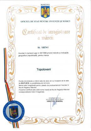 Certificat de inregistrare a marcii - Topoloveni